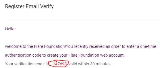 mã code email gửi từ Flare