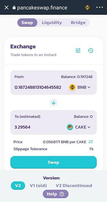 Swap đồng BNB sang CAKE trên PancakeSwap - hướng dẫn mua đồng CAKE